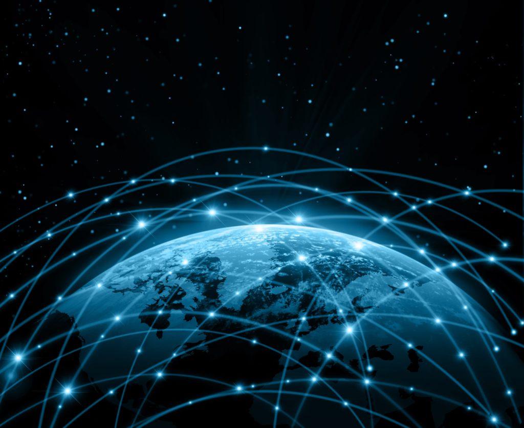 artist view of internet connection around the world