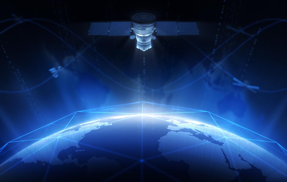 vue d'artiste de la connexion internet par satellite autour de la terre